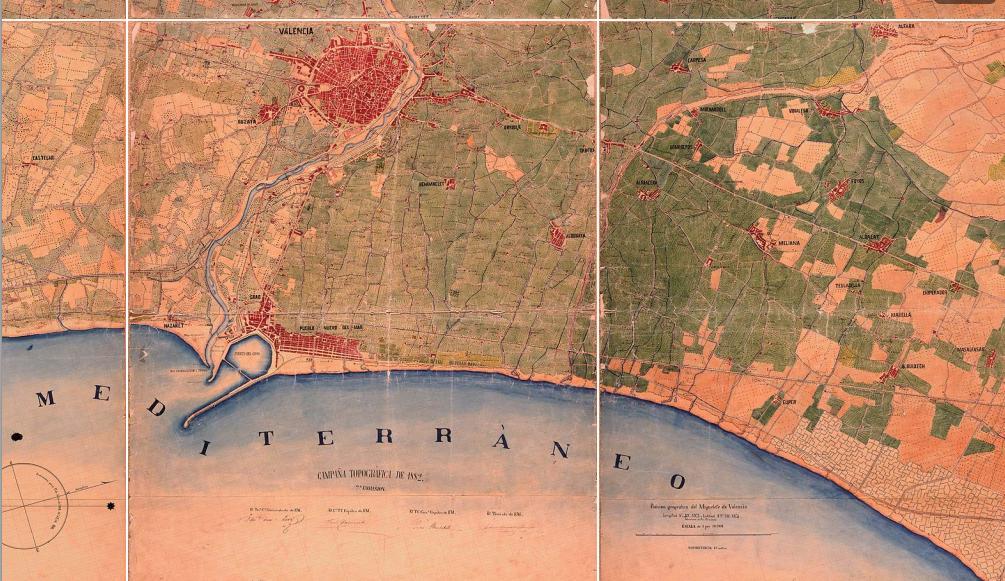 Plano de Valencia y alrededores 1883