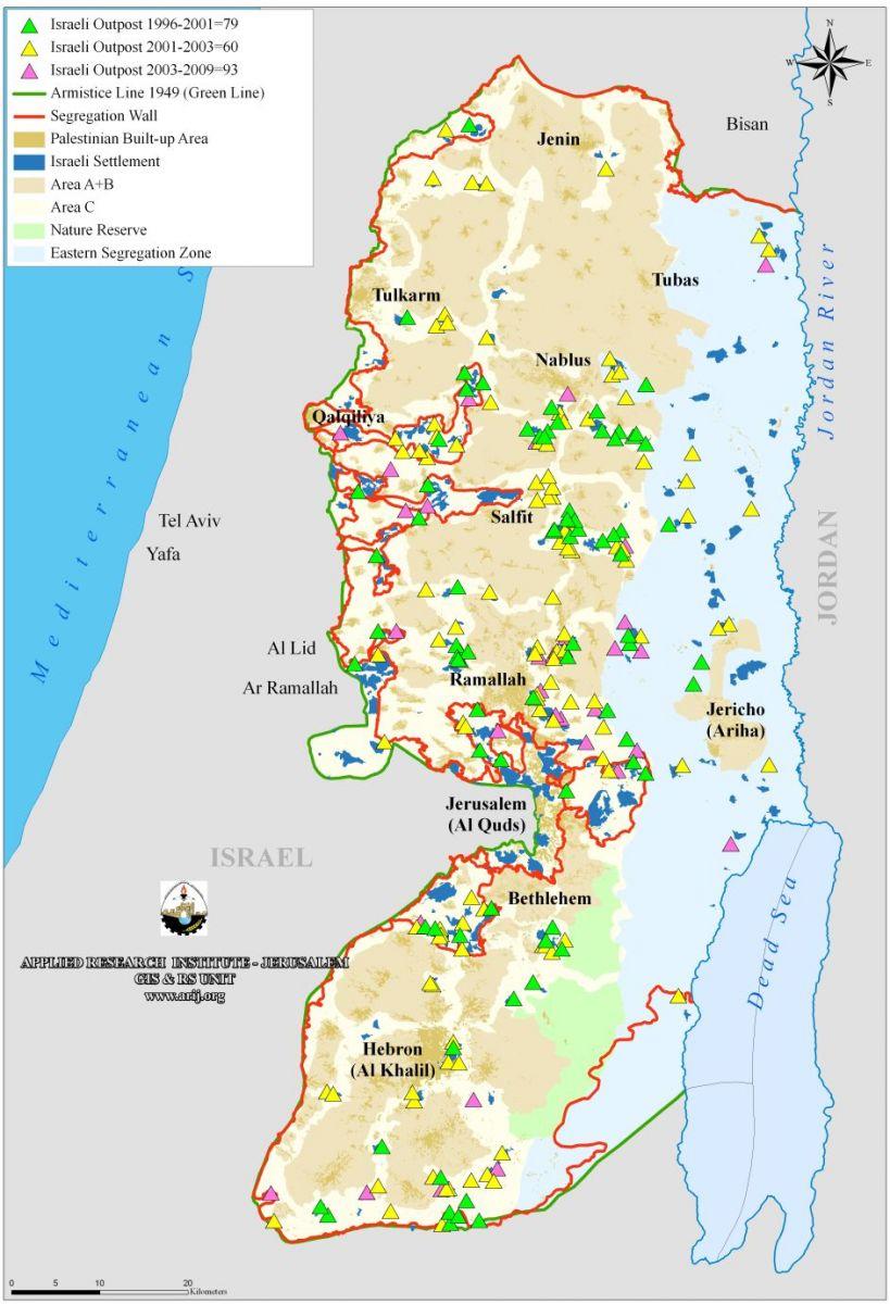 Muro de Israel (línea roja). Fuente: www.palestinalibre.org