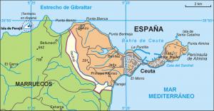Mapa de Ceuta. Fuente: wikipedia