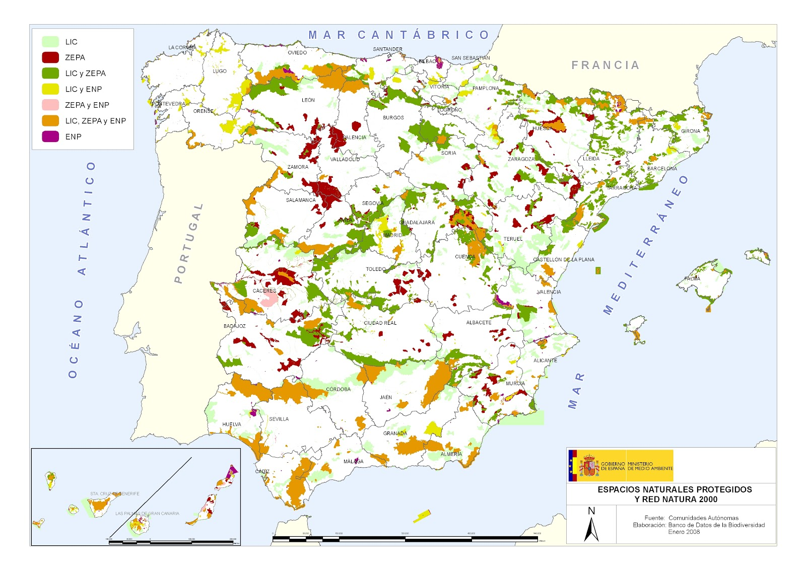 Mapa Espacios Naturales España