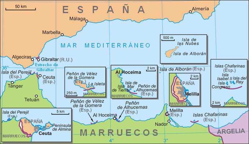 Pertenencias españolas del norte de África. Fuente: Wikipedia.