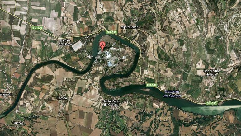 Situación de la central nuclear. Fuente: Google Maps