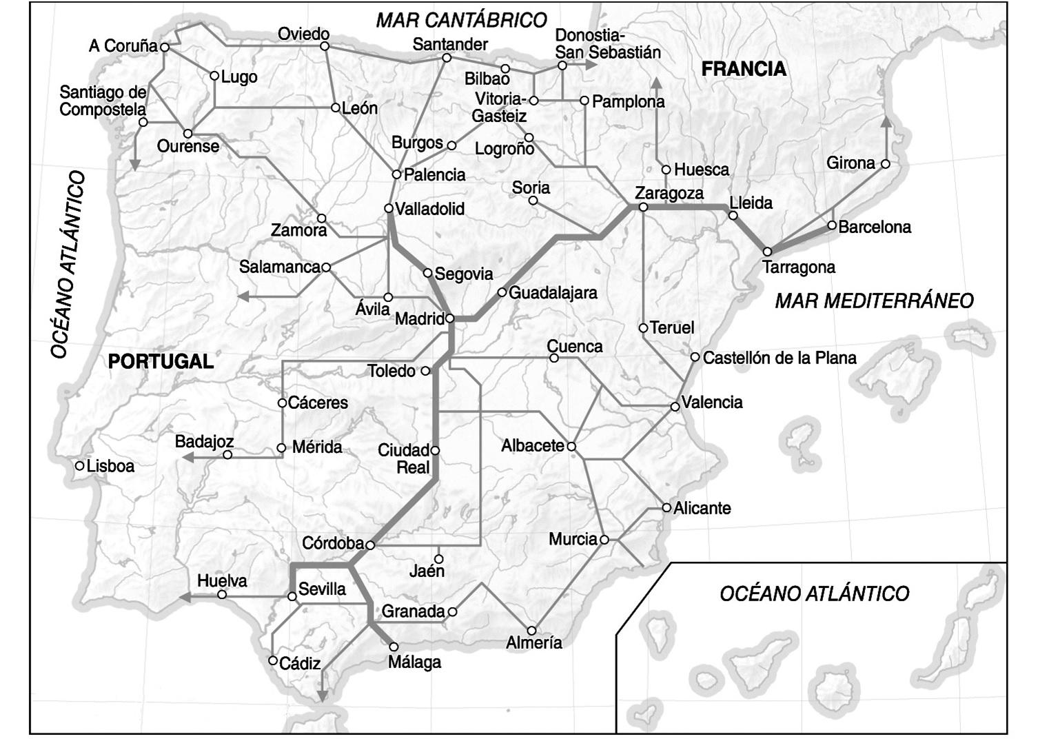 Figura 1: Planificación de la red AVE 2005-2020. Fuente: Ministerio de Fomento.