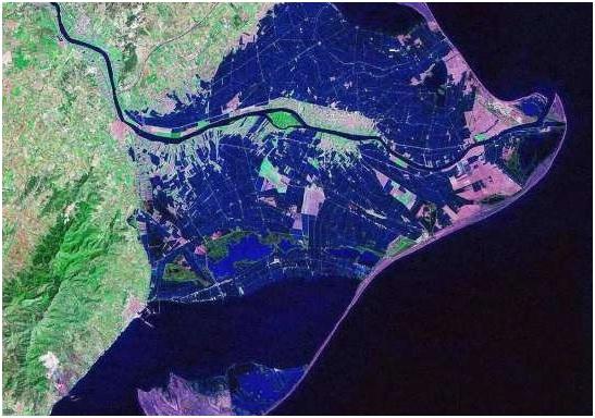 Figura 1: Imagen del Delta del Ebro en 2006. Obsérvese la inundación de los campos de arroz. Fuente: UAB.