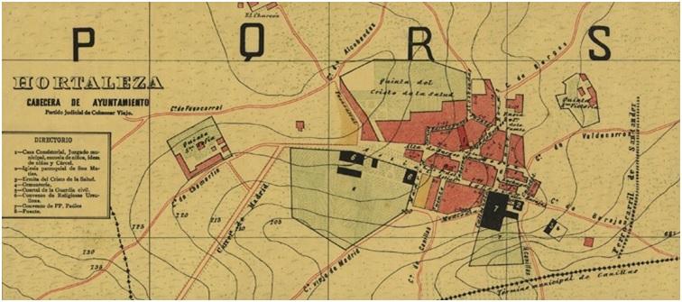 Plano de Hortaleza en 1902. Extracto del Plano de Facundo Cañada