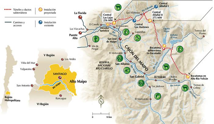 localización del proyecto hidroeléctrico Alto Maipo.