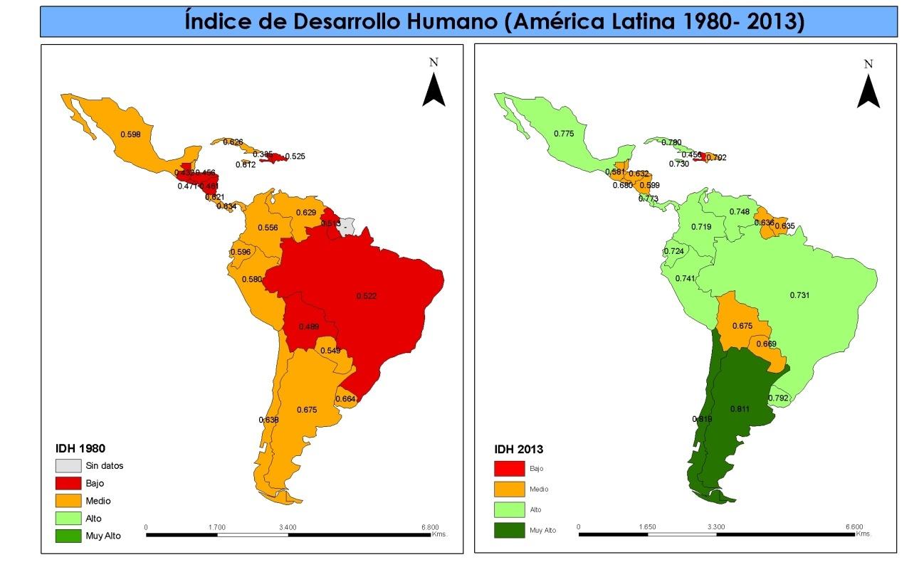 Mapa del IDH de América Latina de 1980 y 2013.