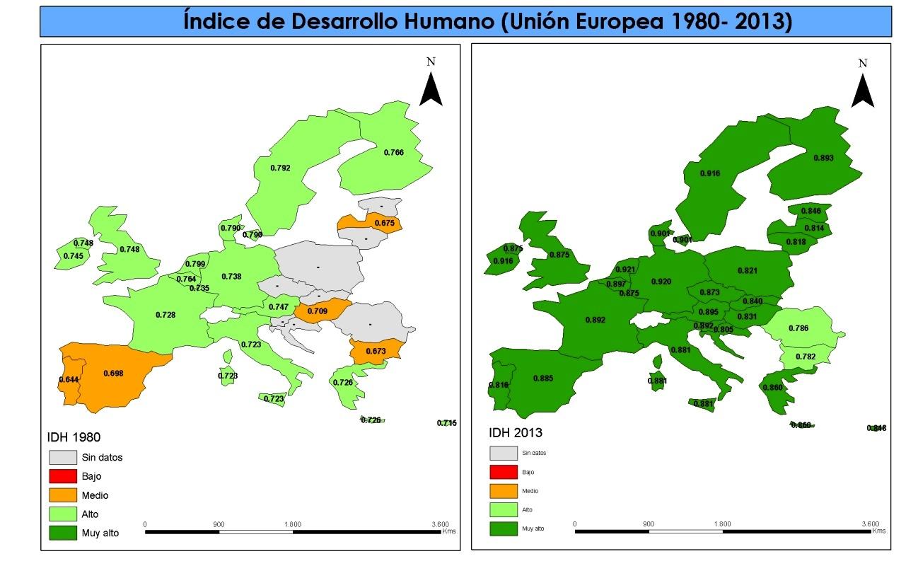 Mapa del IDH de la Unión Europea de 1980 y 2013.