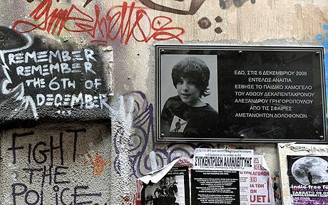 Grafiti en recuerdo de la muerte de Alexandros Grigoropoulos