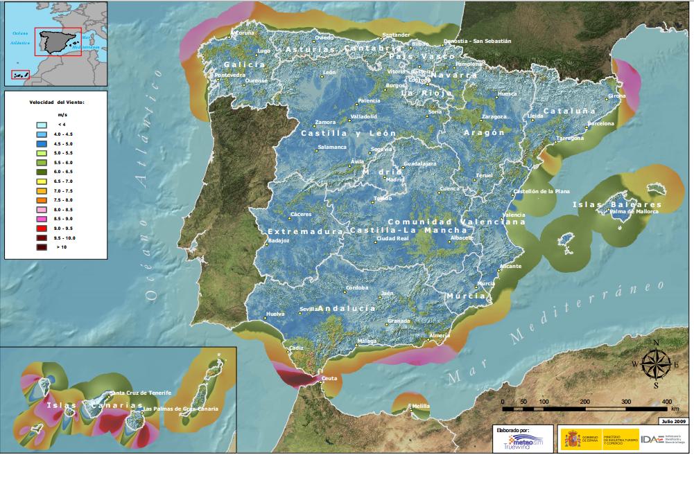 Velocidad media anual del viento en España a 30 metros de altura. Fuente: Ministerio de Industria.