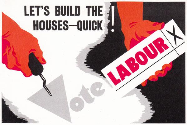 Cartel de apoyo al partido Laborista en 1945.